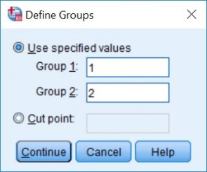 Defining groups for an unpaired t-test in SPSS