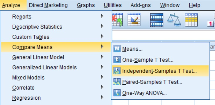 Unpaired t-test options in the SPSS menu