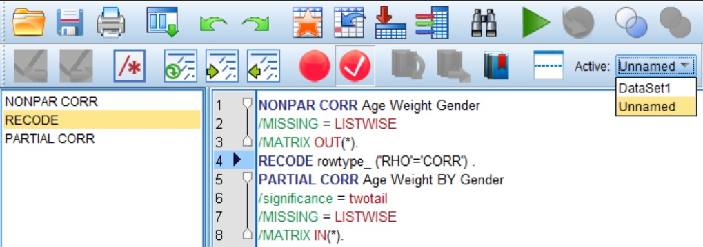 Changing the active dataset in the syntax window of SPSS