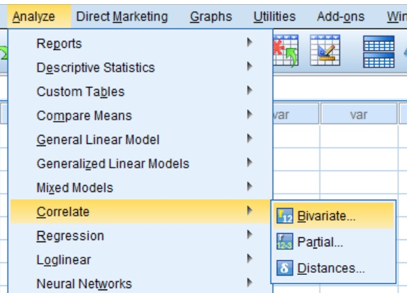 Bivariate menu option in SPSS