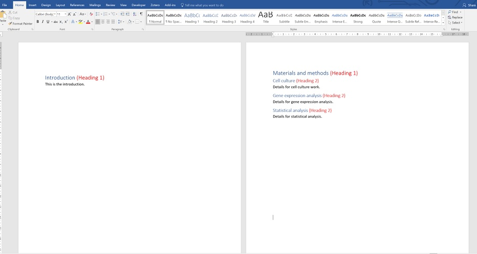 how to create headings in word for table of contents