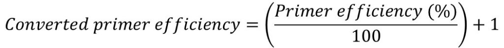 Primer efficiency converted formula Pfaffl equation