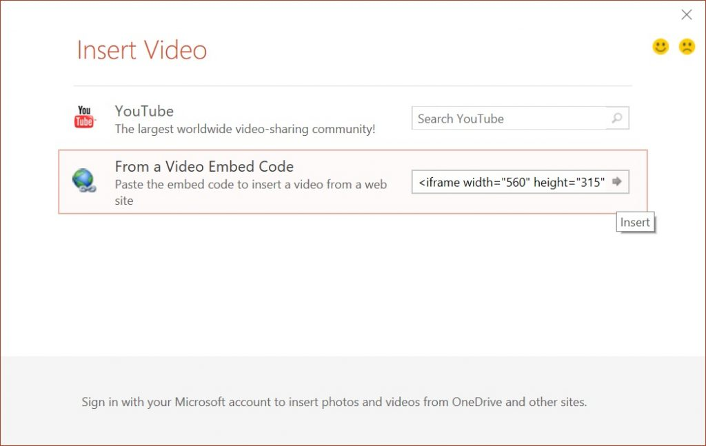 Embed YouTube video PowerPoint insert embed code