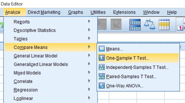 One-sample t-test menu