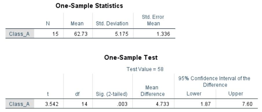 One-sample t-test output of results in SPSS