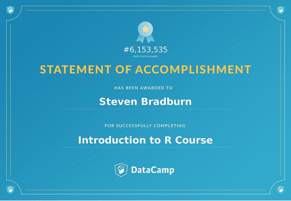 Acomplishment statement of accomplishment - introduction to r - datacamp