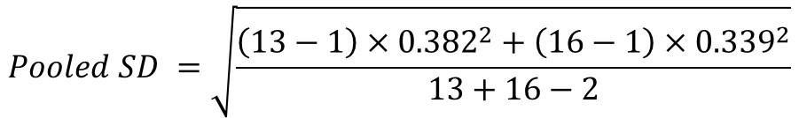 Cohen's ds pooled SD formula example