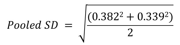 Pooled standard deviation example
