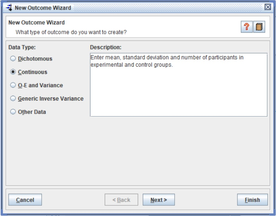 RevMan New Outcome Wizard Continuous Data