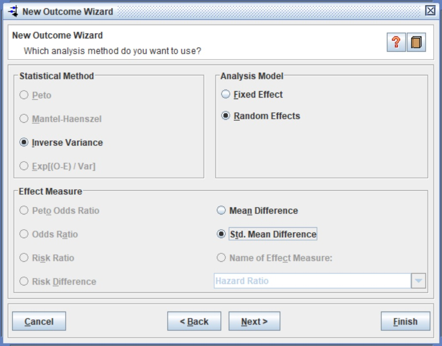 RevMan New Outcome Wizard Group Statistics