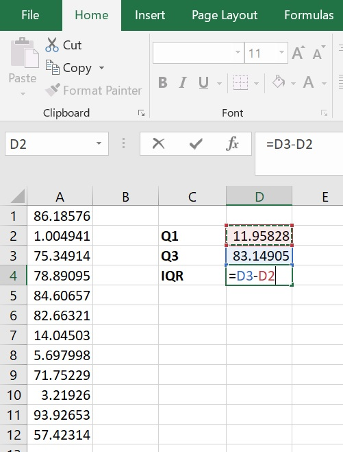 How to calculate the IQR in Excel