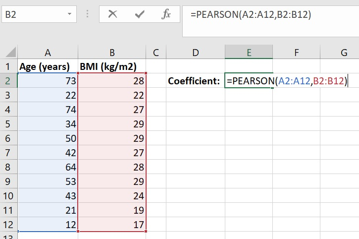 Calculate Pearson correlation coefficient in Microsoft Excel