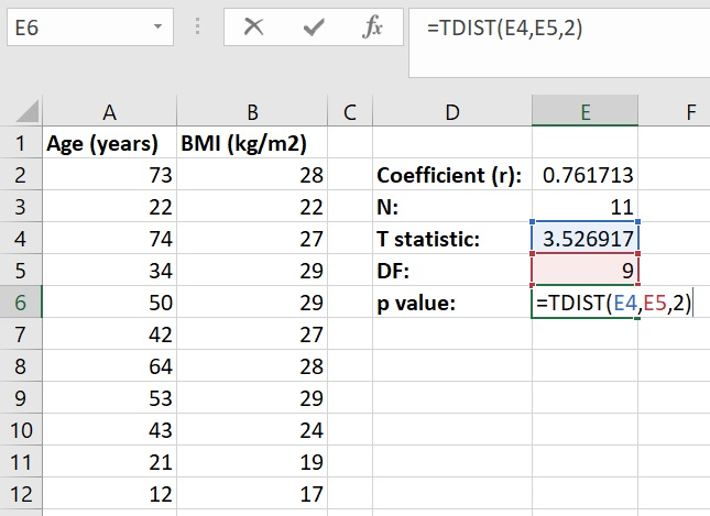 Calculate p value from t statistic in Microsoft Excel