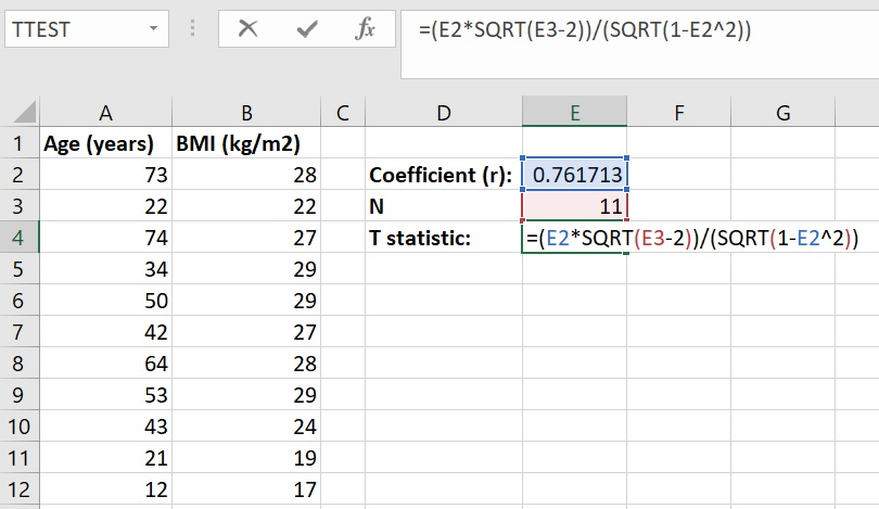 Calculate t statistic from Pearson correlation coefficient in Microsoft Excel