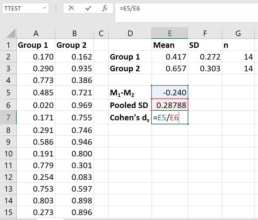 Calculate Cohen's d in Excel