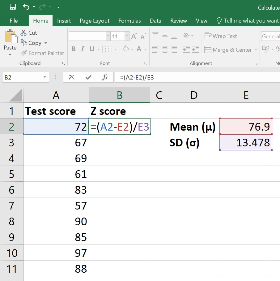 Calculate Z score in Excel