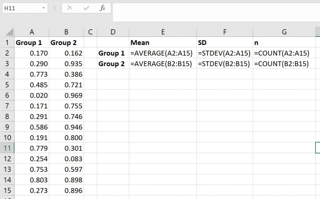 Calculate mean, standard deviation and n in Excel