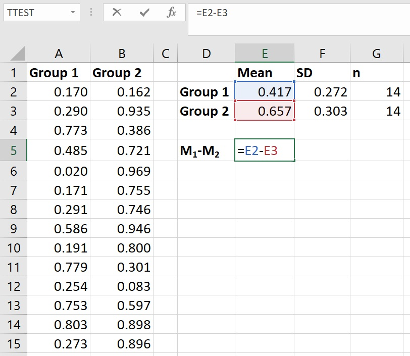 Calculate the mean difference in Excel