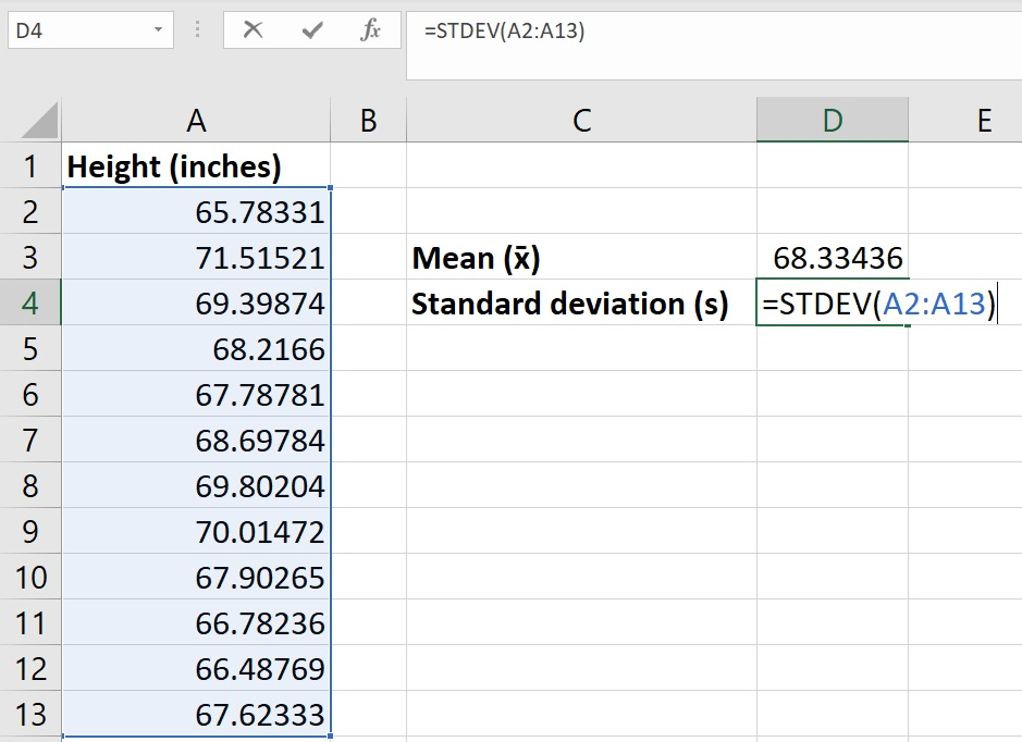 Calculate the standard deviation in Excel