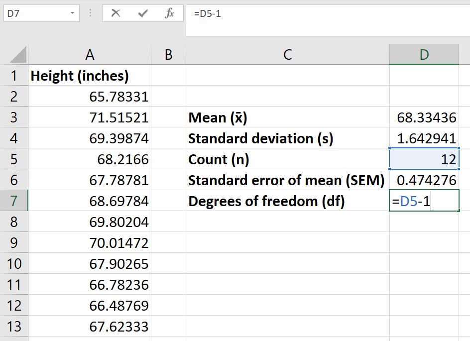 Degrees of freedom in Excel
