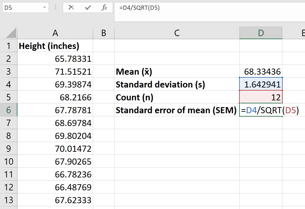 Standard error of the mean in Excel