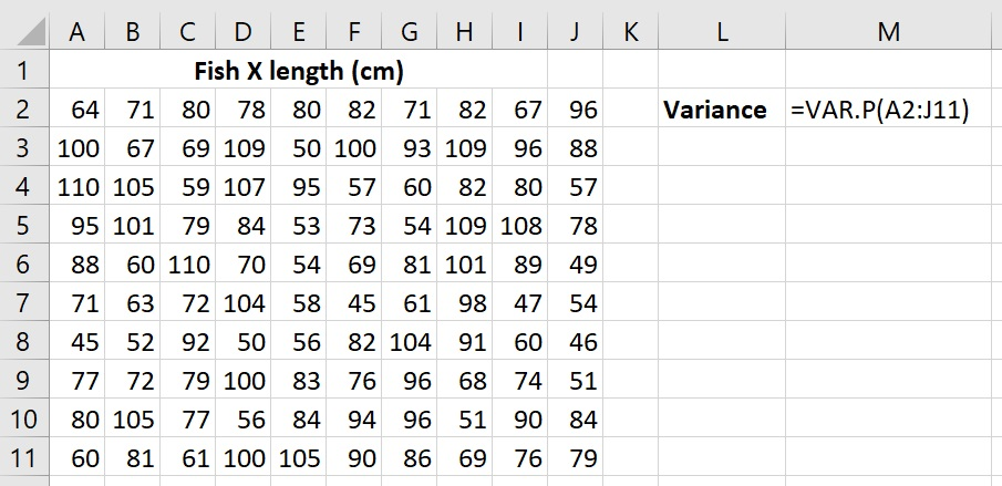 Calculate population variance in Excel
