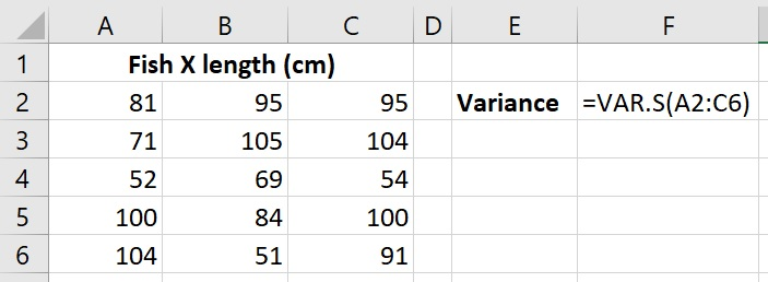 Calculate sample variance in Excel