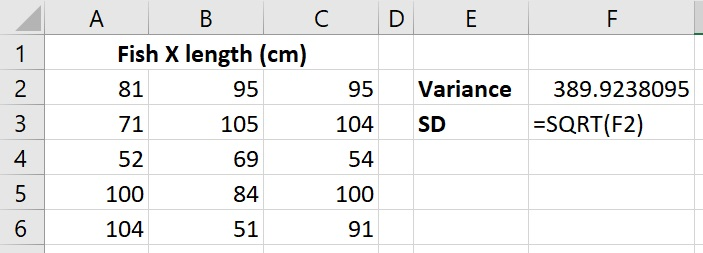 Calculate standard deviation from sample variance in Excel