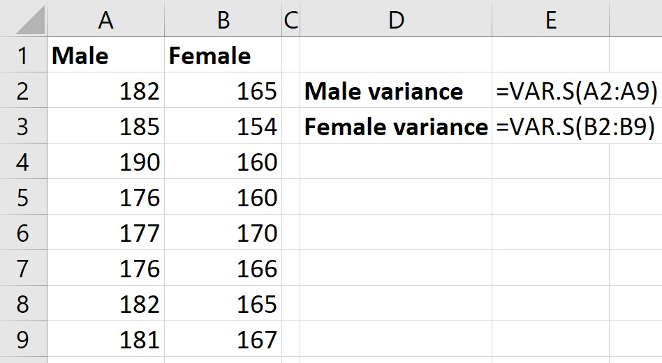 Calculating sample variance in Excel