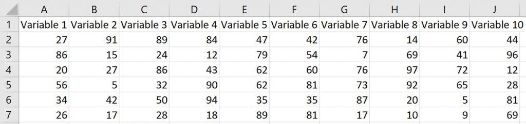 Create correlation matrix in Excel example data