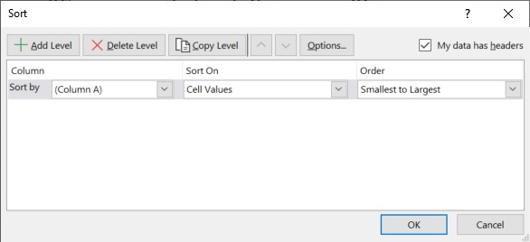 Excel sort and filter