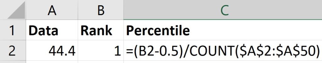 Calculate percentile of ranks in Excel
