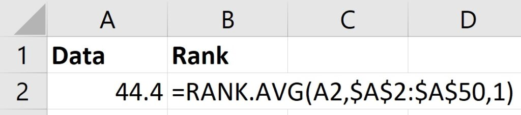 Calculate ranks in Excel