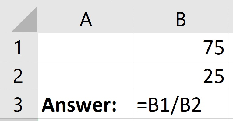 How to divide cells in Excel