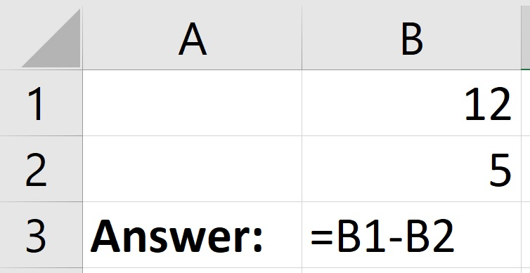 How to subtract cells in Excel